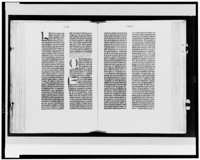 [Gutenberg Bible opened to the beginning of the Gospel of Luke]