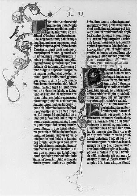 [Pages from the Gutenberg Bible, 1455: the 1st pages of the Gospels and the beginning of the Sermon on the Mount: Luke 1:1]