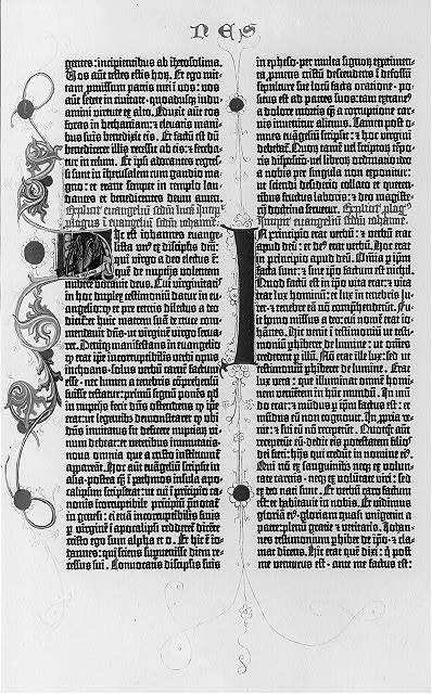 [Pages from the Gutenberg Bible, 1455: the 1st pages of the Gospels and the beginning of the Sermon on the Mount: John 1:1]