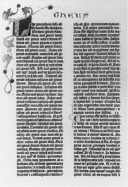 [Pages from the Gutenberg Bible, 1455: the 1st pages of the Gospels and the beginning of the Sermon on the Mount: Matthew 1:1]