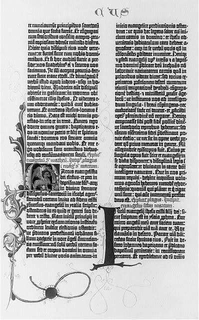 [Pages from the Gutenberg Bible, 1455: the 1st pages of the Gospels and the beginning of the Sermon on the Mount: Mark 1:1]