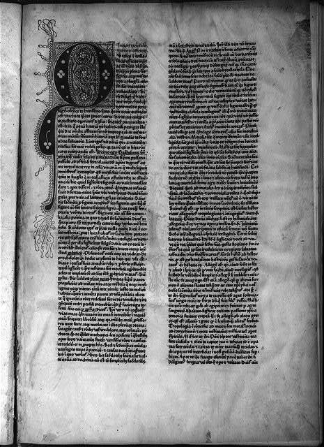 [Printed vellum page from the first book printed in small type. 1459]
