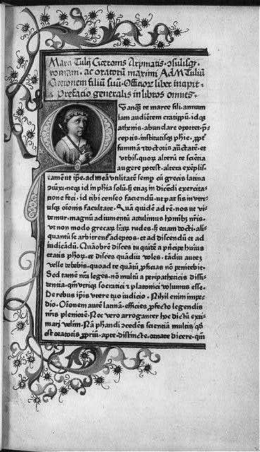 [Marcus Tullus Cicero, bust portrait on page of Latin text]