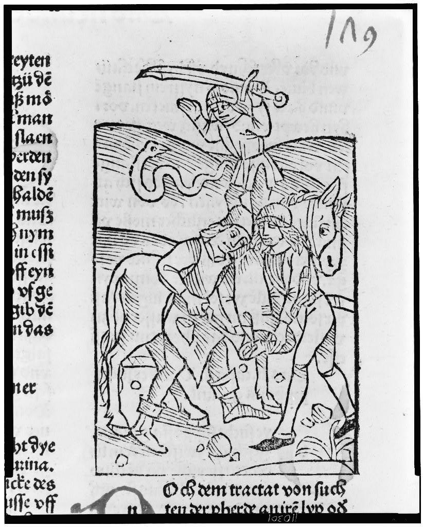 [Blacksmith shoeing a horse while a man with large sword slays a snake in the background]