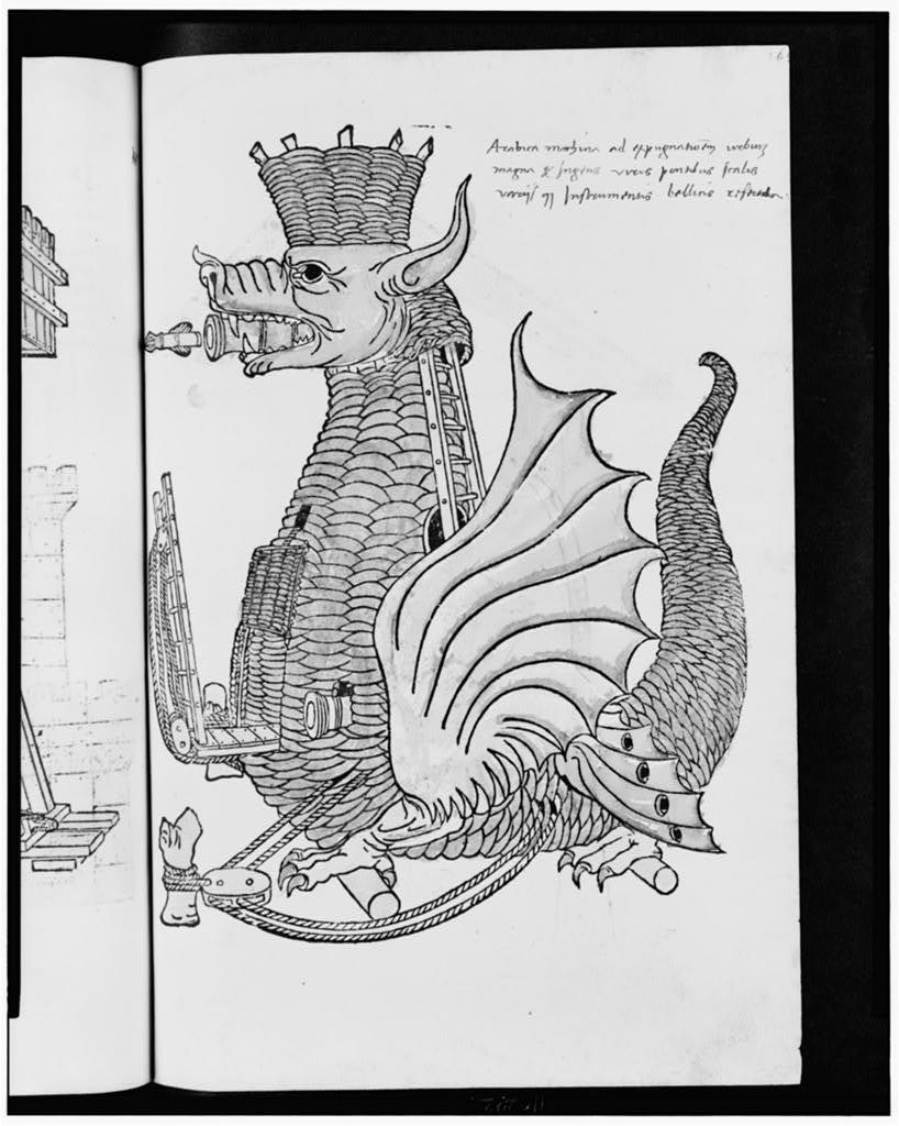 [Mobile tank-like fortress in the shape of a dragon]