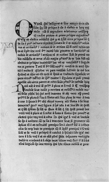 [Page of text in Physica, with decorated initial Q]