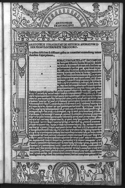 Aristotellis stragiritae de historia animalium liber primus