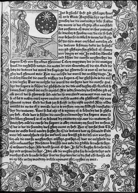 Woodcut in Werner Rolevinck, Fasciculus Temporum - entire page including border