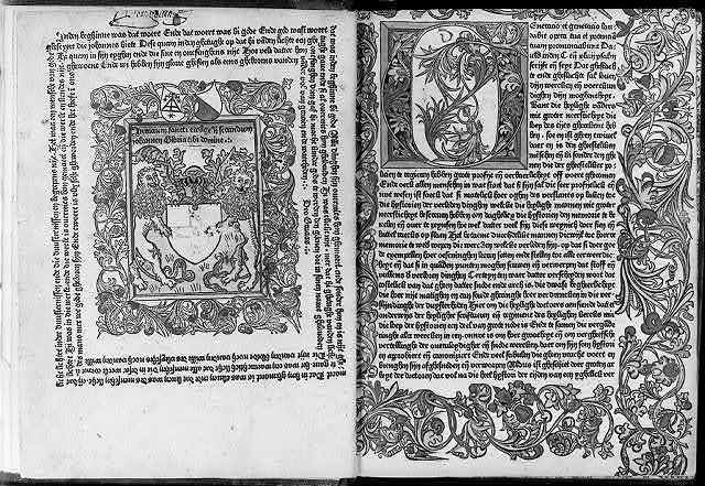 Woodcut in Werner Rolevinck, Fasciculus Temporum - frontis and facing page