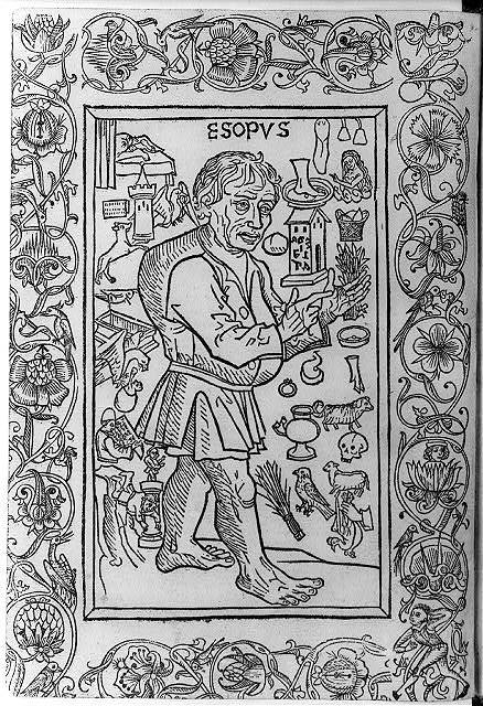 [Woodcuts used to illus. Fables from incunabula...1966: Aesop surrounded by symbols of fables, 1481 - #60]