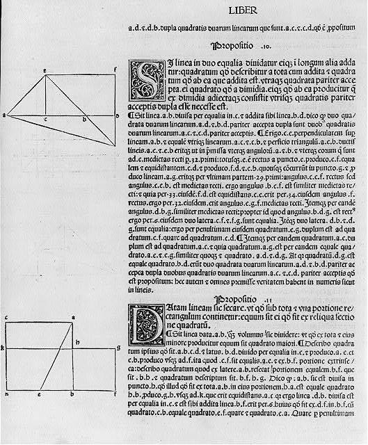 "[Geometric diagrams in margins of text of first printed edition of Euclid's ""Elements,"" which they illus.: 2 diagrams at left of text (page headed ""Liber"")]"