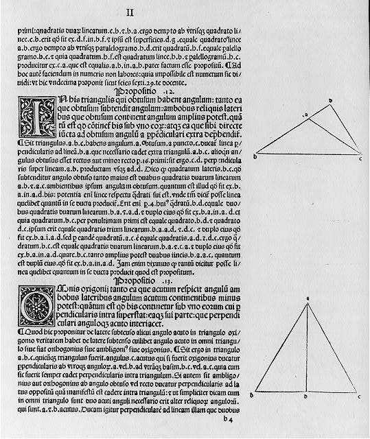 "[Geometric diagrams in margins of text of first printed edition of Euclid's ""Elements,"" which they illus.: 2 diagrams of text (page headed ""II"")]"