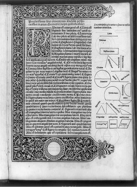 [Title page of Elementa geometrie; with decorated border and initial P and geometric diagrams]