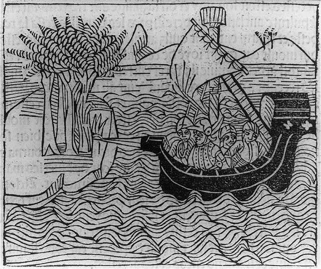 [Aeneas' ship landing on an island]