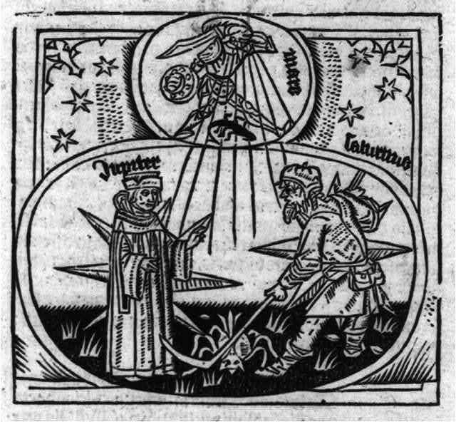 "[Illus: Prognostication: Clergyman (""Jupiter"") blessing farmer (""Sagitarius"") tilling soil; ""Mars"" in armor is radiating beams upon them]"