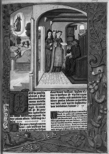 [Four illustrations of 15th c. daily live from the text of Boethius, De consolatione philosphiae. Dutch and Latin. Ghent, Arend de Kaysere, 3 May 1485]