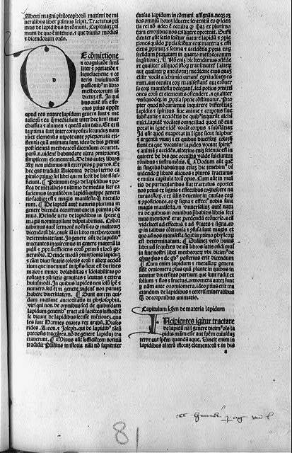 [Page of De mineralibus, with initial O]