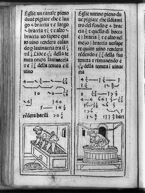 [Illustrated arithmetic problem showing man stamping on fruit in rectangular tub and man standing in round tub, with mathematical equations and surrounding text]