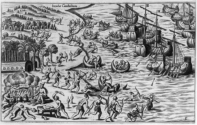 """Insula Canibalium"" - Indians attacking fleet of Spanish ships; scene of cannibalism in left fg."