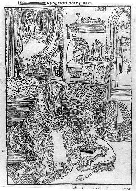 St. Jerome interrupting his work of translating the Hebrew and Greek texts of the Bible to remove a thorn from a lion's paw