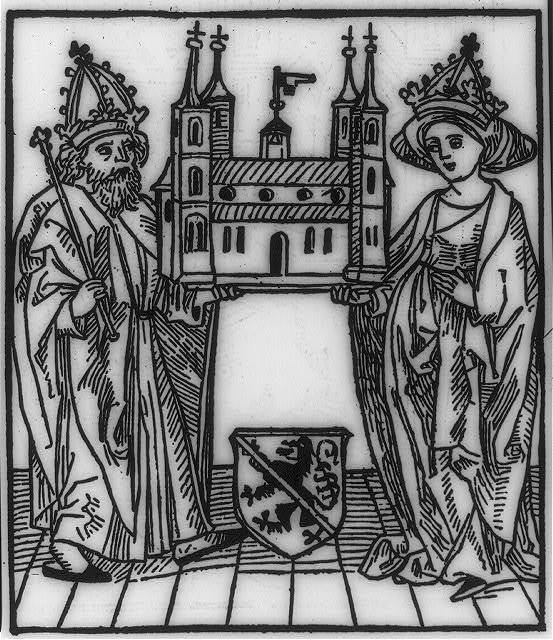 [Holy Roman Emperor (Maximilian I(?) 1459-1519) and Empress holding model of Bamberg cathedral between them]