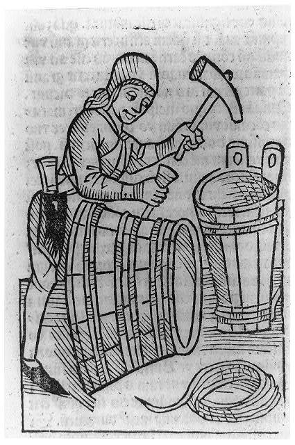 [Viticultural scenes - man making wine vats]