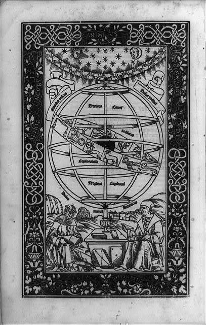 [Crowned Greek astronomer Ptolemy and his Renaissance translator Regiomontanus, seated beneath an armillary sphere and surrounded by decorated border]