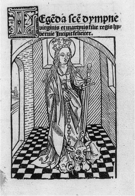 Illus. of St. Dympna, 7th Century Irish princess who was martyred by resisting the incestuous designs of her pagan father