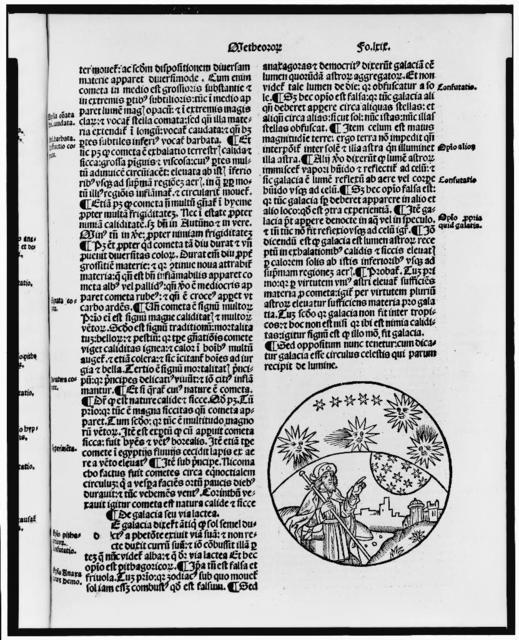 [Illustrated page with vignette showing Aristotle? pointing to the stars in the sky]