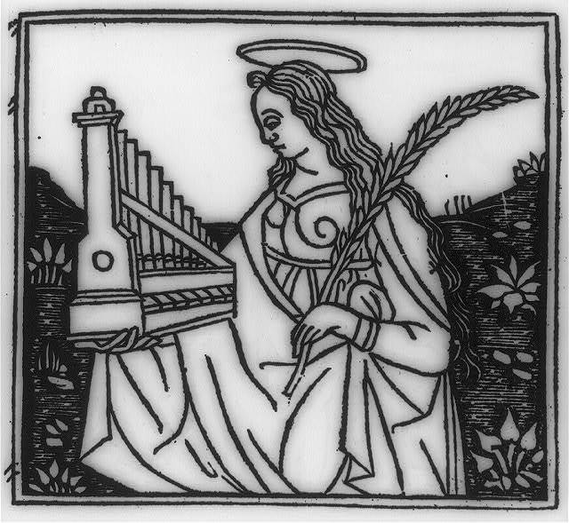 [Saint Cecilia holding her emblems: portable organ and martyr's palm]
