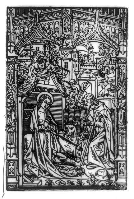 The Nativity, a metal cut from Horae Beatae Virginis Mariae, a Book of Hours executed by Philippe Pigouchet, dated at Paris, Aug. 22, 1498