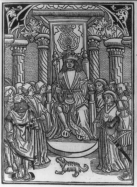 [Charles VII, king of France, 1403-1461, full, seated on throne, surrounded by court]