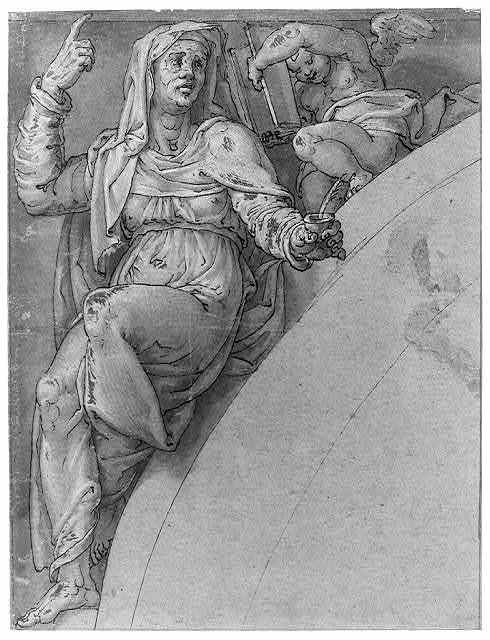 [Figure of a woman with raised hand, possibly Sybil in the Sistine Chapel at the Vatican]