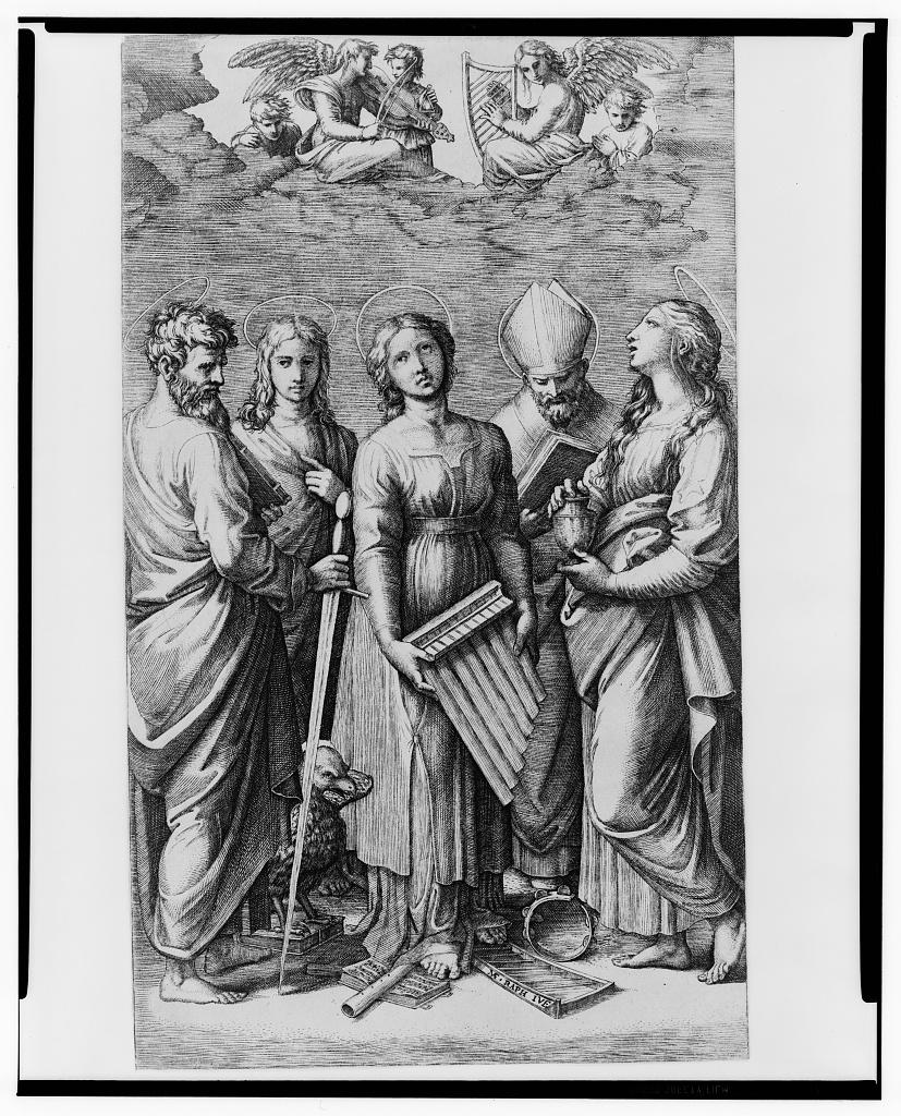 [St. Cecilia surrounded by four saints]