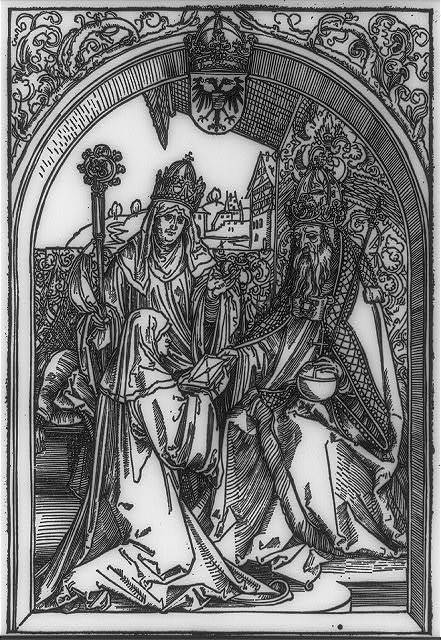 [Hroswitha (10th Century nun, poet, and chronicler) presenting her works to Otto I (912-973), King of Germany and Holy Roman Emperor]