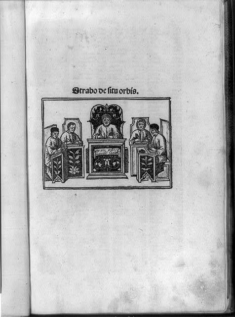 [Title page with five men seated at desks writing, possibly includes the author, Strabo, a Greek geographer]