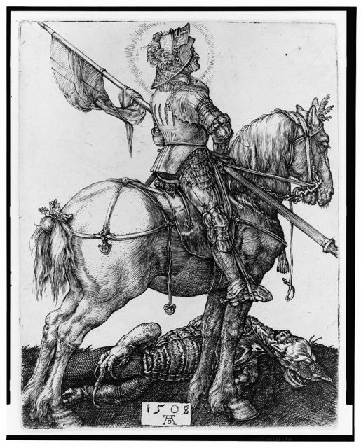 [St. George on horseback] / AD [monogram].