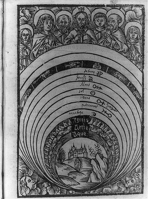 [An illustration of the Ptolemaic concept of the universe showing the earth in the center]