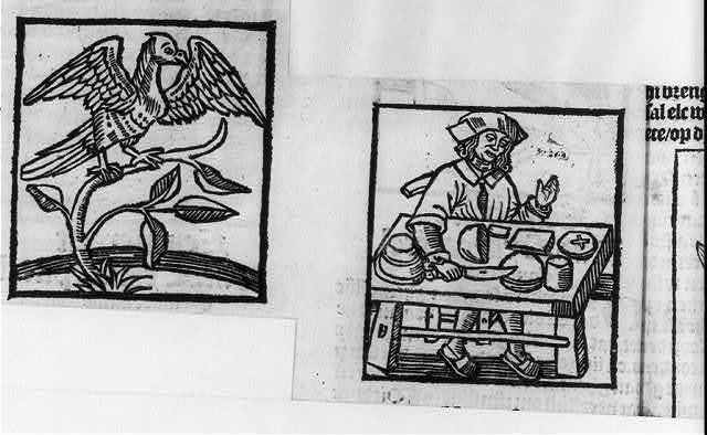 Illus. of man slicing bread (making communion wafers?) and of a hawk, in Hortus sanitatis [minor], Dè grotè herbari (The great Herbarium), Antwerpen, Gheprint bi C. de Graue, 1514