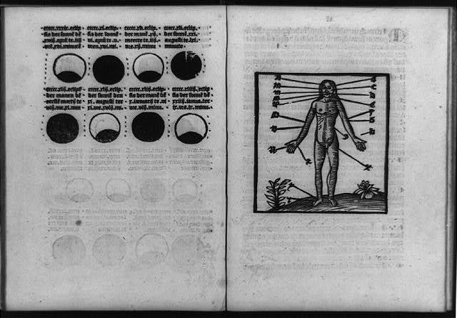 [Blood-letting guide, with phases of moon and points from which blood is to be let keyed to nude figure]
