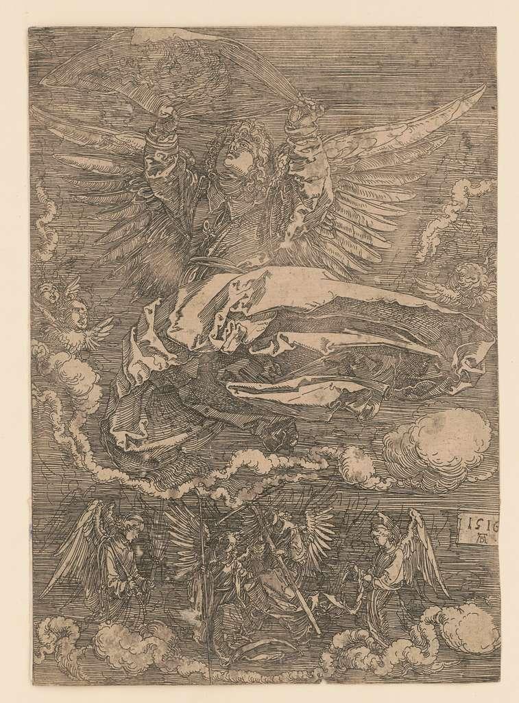Sudarium held by one angel AD monogram
