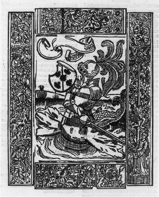 [Knight in armor, with lower body of fish; bordered with hunting scenes]