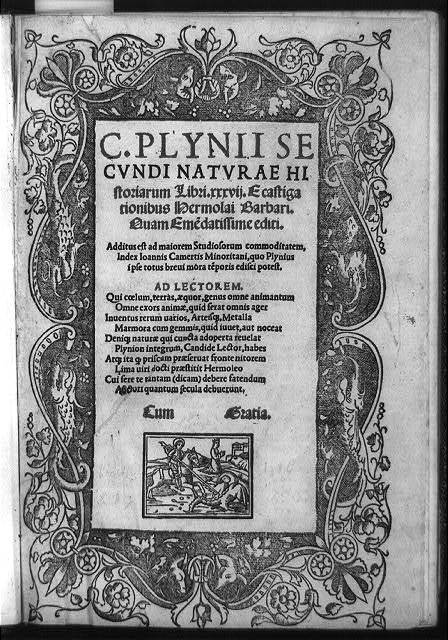 [Title page of Pliny's Natural history, with decorative border of dolphins and illustration of St. Michael lancing dragon]