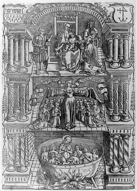 [The elaborate device of Franz Birckmann, a Cologne bookseller, showing 3 seperate scenes: The Adoration, St. Ursula with the 11,000 virgins, and a boiling cauldron containing 7 Maccabean youths and their mother. In upper corners are 2 shields containing Cologne arms and Birckmann trademark]