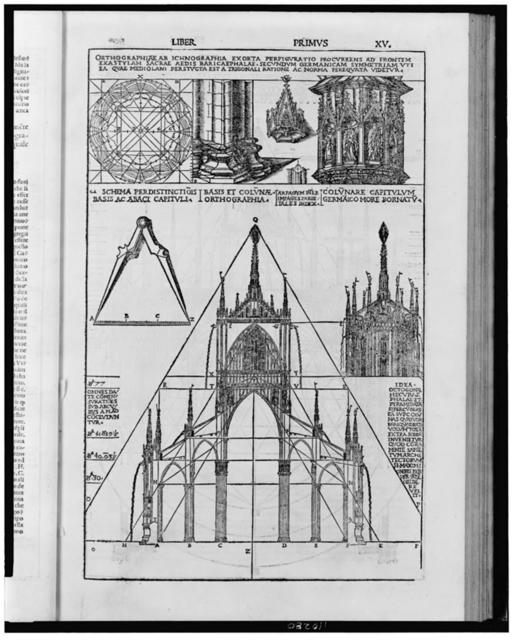 [Milan Cathedral, plan, elevation, and architectural elements from handbook on classical architecture]