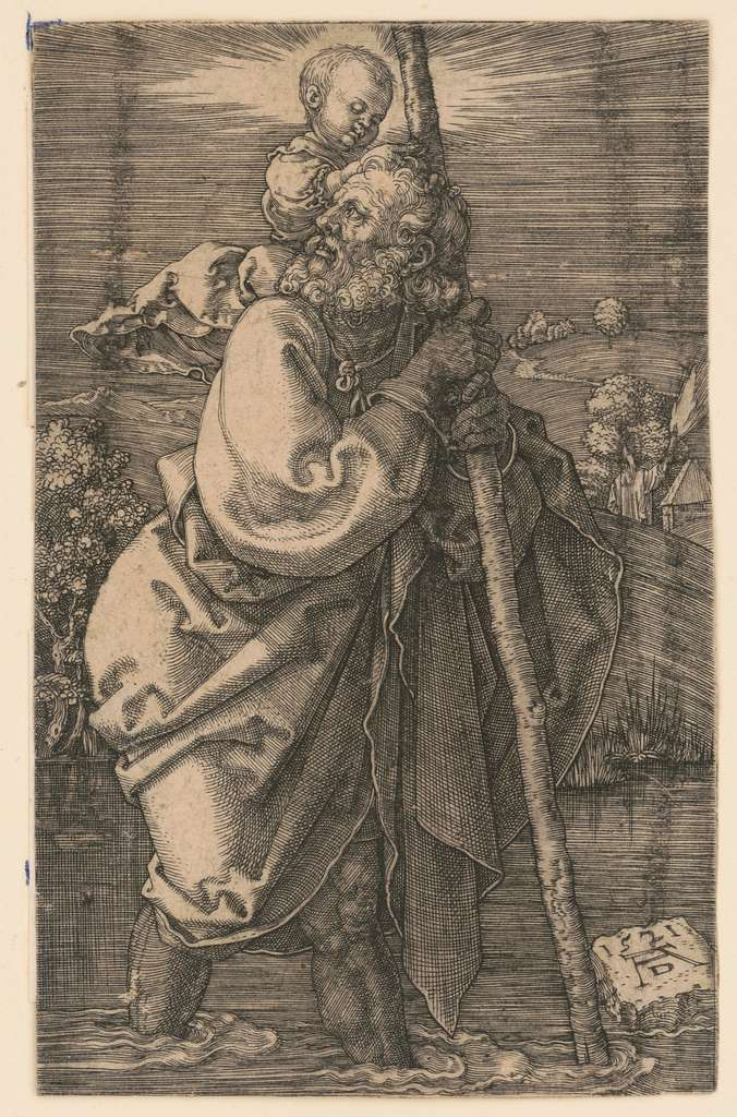 Saint Christopher facing left AD monogram