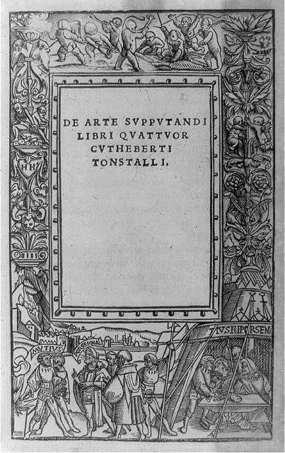 [Title page of De arte supputandi, book four; with decorated border including men inside tent, Scaevola and Porsenna]