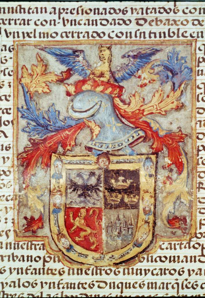 Coat of arms of Hernando Cortes, granted him by Emperor Charles V - Drawing from 5th sheet of grant