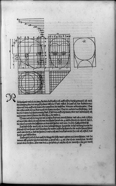 [Four views of heads with proportions delineated in perspective grids, and surrounding text]
