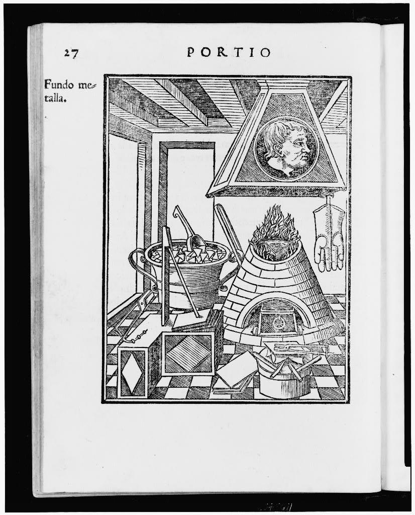 [Interior of a metallurgist's workshop with furnace and implements of his trade; on the hood over the furnace is a portrait of an unidentified man]